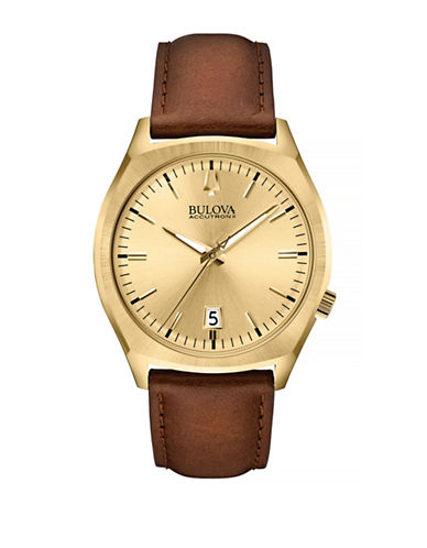 Bulova Accutron II Goldtone Stainless Steel Leather Watch-BROWN-One Size