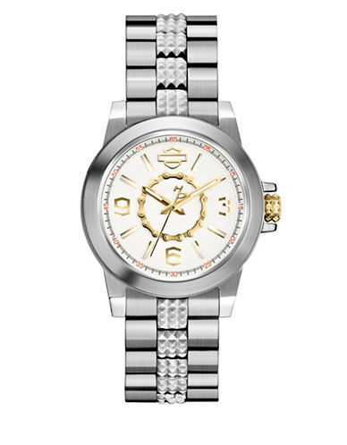 Harley Davidson Analog Boyfriend Collection Stainless Steel Bracelet Watch-SILVER-One Size