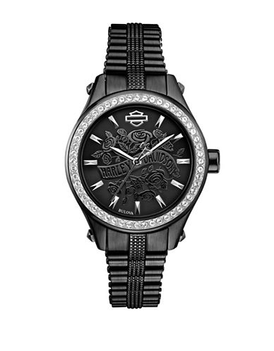Harley Davidson Analog Flower Power Collection Stainless Steel Bracelet Watch-BLACK-One Size