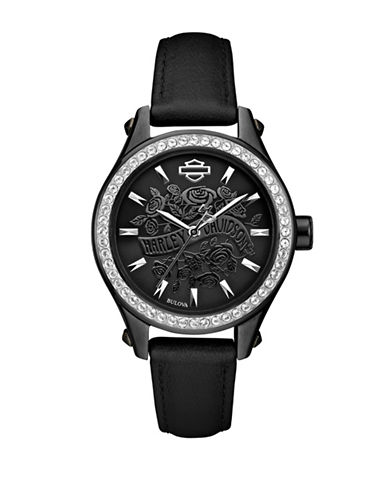 Harley Davidson Analog Flower Power Collection Leather Strap Watch-BLACK-One Size