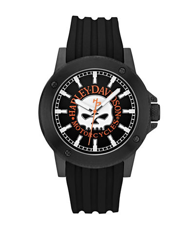 Harley Davidson Analog Willie G Skull Collection Band Watch-BLACK-One Size