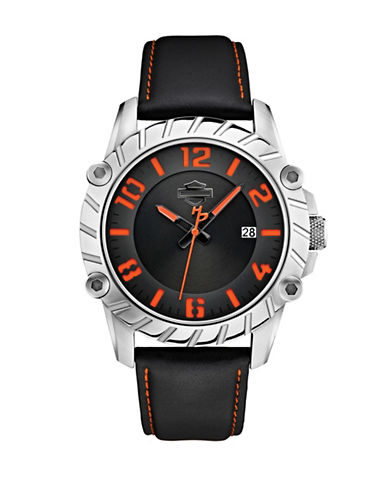 Harley Davidson The Cut-Up Stainless Steel Analog Watch-BLACK-One Size