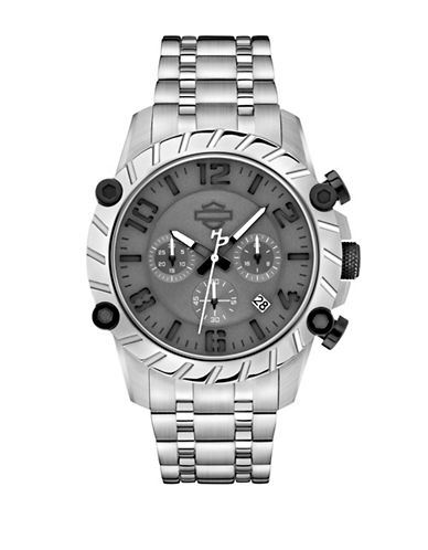 Harley Davidson Chronograph Cut Up Collection Stainless Steel Bracelet Watch-SILVER-One Size