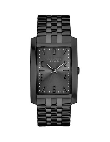 Caravelle New York Three-Hand Sweep Analog The Shades of Grey Collection Stainless Steel Bracelet Watch-BLACK-One Size