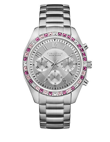 Caravelle New York The Boyfriend Collection Chronograph Stainless Steel Bracelet Watch-SILVER-One Size