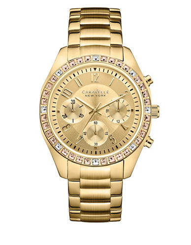 Caravelle New York Chronograph Boyfriend Collection Goldtone Bracelet Watch-GOLD-One Size