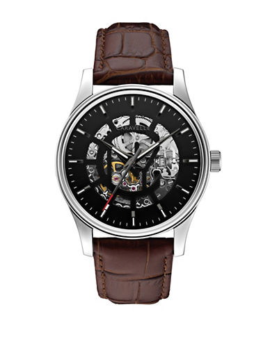 Caravelle New York The Automatic Collection Leather Strap Watch-BROWN-One Size