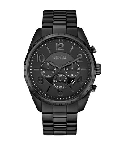 Caravelle New York The Black and  White Collection Chronograph Black Stainless Steel Bracelet Watch-BLACK-One Size