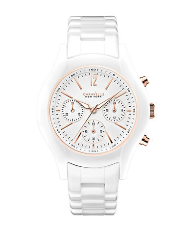Caravelle New York Chronograph White Ceramic Bracelet Watch-WHITE-One Size