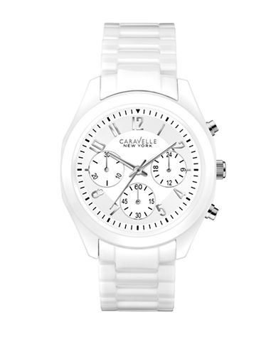 Caravelle New York The Ceramic Collection Chronograph Ceramic Bracelet Watch-WHITE-One Size