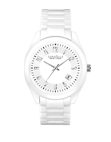 Caravelle New York The Ceramic Collection Three-Hand Calendar Analog Bracelet Watch-WHITE-One Size