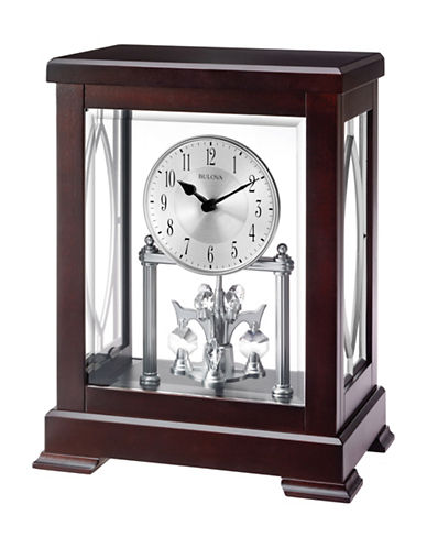 Bulova Empire Wood Embossed Handle Mantel Clock-ESPRESSO-One Size