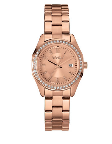 Caravelle New York Three-Hand Calendar Analog The Perfectly Petite Collection Rose Goldtone Bracelet Watch-ROSE GOLD-One Size