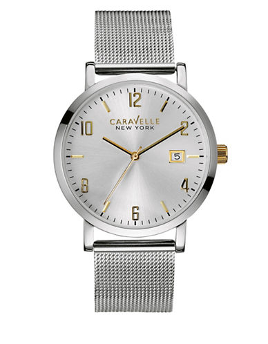 Caravelle New York The Hints of Gold Collection Three-Hand Calendar Analog Mesh Stainless Steel Bracelet Watch-SILVER-One Size