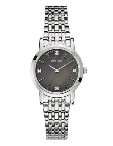 Bulova Womens Diamond Gallery Collection Petite 96P148-SILVER-One Size