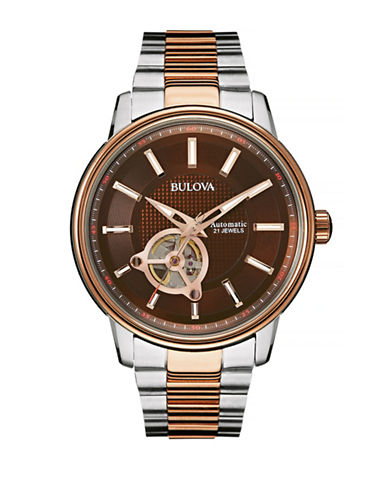 Bulova Automatic Open Aperture Stainless Steel Watch-TWO TONE-One Size