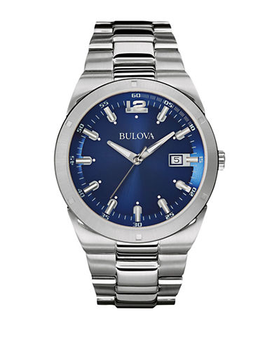 Bulova Mens Classic Collection Oversized 96B220-SILVER-One Size