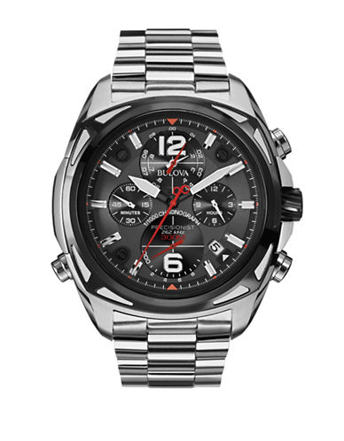 Bulova Chronograph Precisionist Collection Silvertone and Black Bracelet Watch-SILVER-One Size