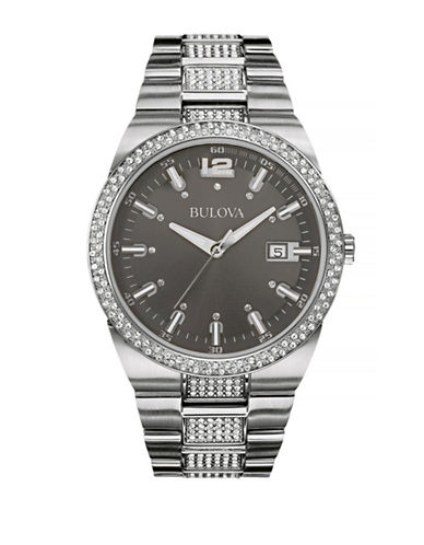 Bulova Crystal Stainless Steel Watch-SILVER-One Size