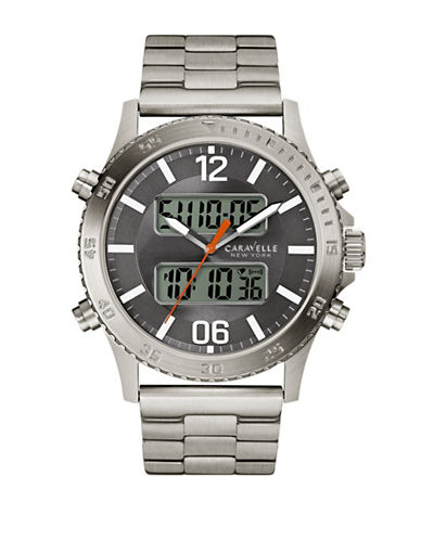 Caravelle New York The Dress Collection Analog Digital Stainless Steel Bracelet Watch-SILVER-One Size