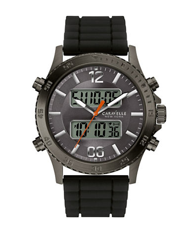 Caravelle New York The Sports Chrono Collection Analog Digital Stainless Steel Bracelet Watch-BLACK-One Size