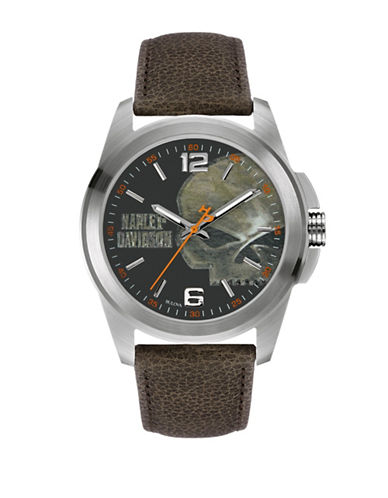 Harley Davidson Analog The Willie G Skull Collection Leather Strap Watch-BROWN-One Size