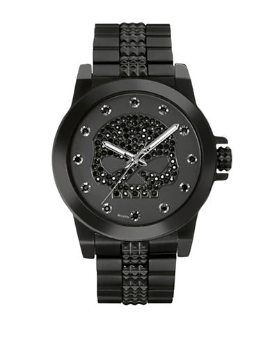 Harley Davidson Analog Willie G Bling Collection Stainless Steel Bracelet Watch-BLACK-One Size