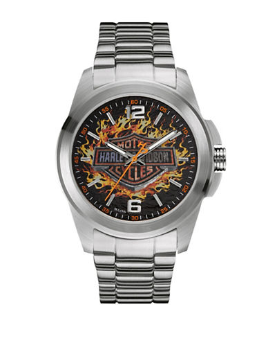 Harley Davidson Analog The Decal Collection Flames Bracelet Watch-SILVER-One Size