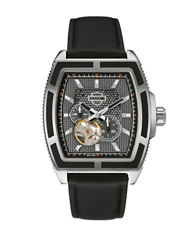 Harley Davidson Mechanical The Weekend Warrior Collection Leather Strap Chronograph Watch-BLACK-One Size