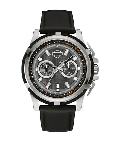 Harley Davidson The Weekend Warrior Stainless Steel Chronograph Watch-BLACK-One Size