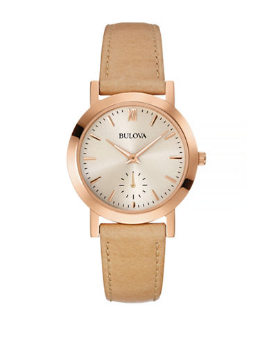 Bulova Rose-Goldtone Stainless Steel Leather Strap Watch-BEIGE-One Size
