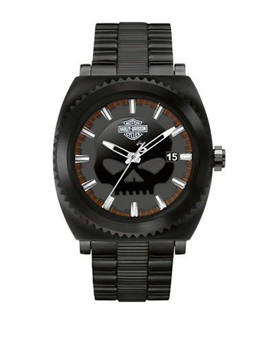Harley Davidson Analog Gearhead Collection Stainless Steel Bracelet Watch-BLACK-One Size