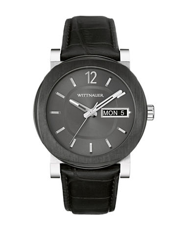 Wittnauer Aiden Analog Two-Tone Leather Watch-BLACK-One Size