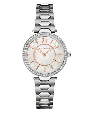 Wittnauer Taylor Analog Mini Crystal Pave Silvertone Watch-SILVER-One Size