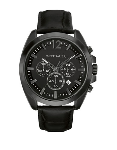 Wittnauer Chronograph Lucas Leather Strap Watch-BLACK-One Size