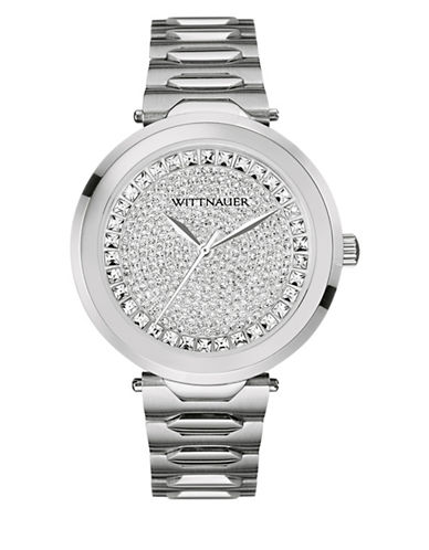 Wittnauer Taylor Analog Crystal Pave Silvertone Watch-SILVER-One Size