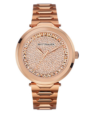 Wittnauer Taylor Analog Crystal Pave Rose-Goldtone Bracelet Watch-ROSE GOLD-One Size