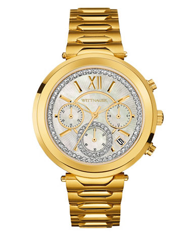 Wittnauer Taylor Chronograph Goldtone Watch-GOLD-One Size