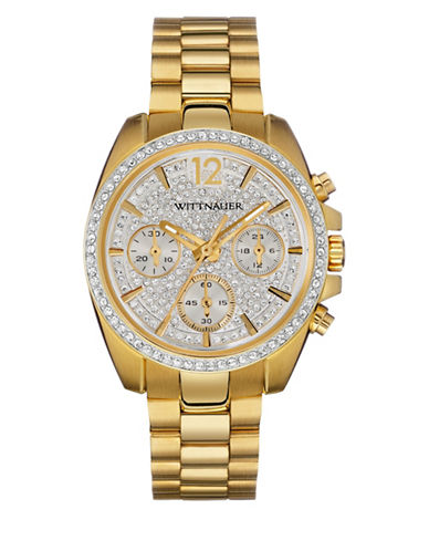 Wittnauer Lucy Chronograph Pave Goldtone Watch-GOLD-One Size