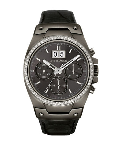 Wittnauer Brody Chronograph Gunmetal Leather Watch-BLACK-One Size
