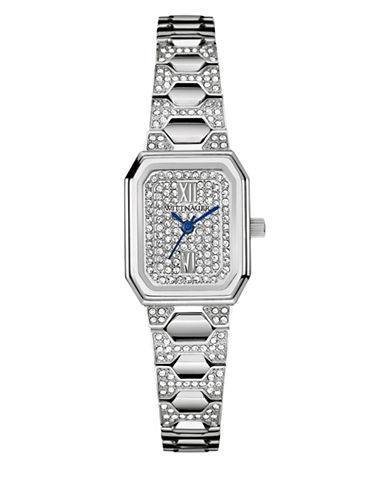 Wittnauer Analog Pavé Octagon Silvertone Watch-SILVER-One Size