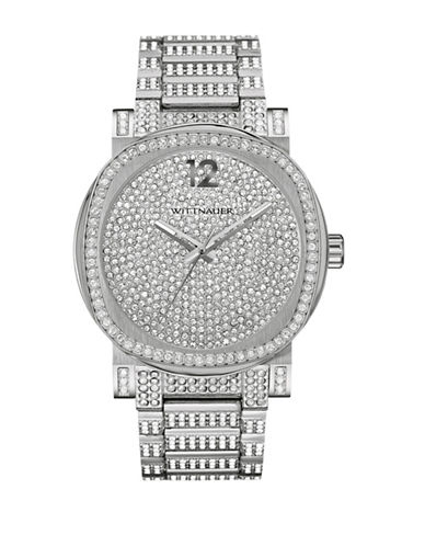 Wittnauer Aiden Analog Full Pave Silvertone Watch-SILVER-One Size