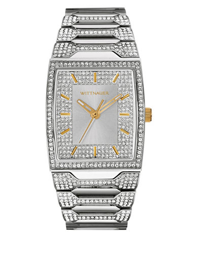 Wittnauer Enrique Analog Full Pave Silvertone Watch-SILVER-One Size