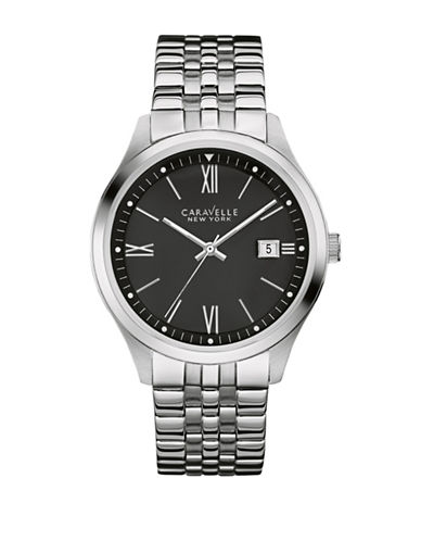 Caravelle New York The Dress Collection Three-Hand Calendar Analog Stainless Steel Bracelet Watch-SILVER-One Size