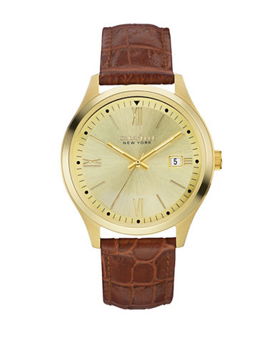Caravelle New York Analog Dress Collection Calendar Leather Watch-BROWN-One Size