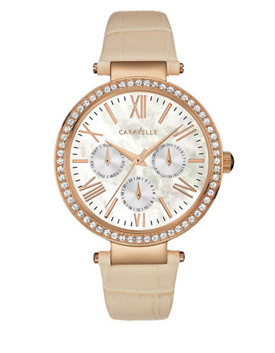Caravelle New York Multifunction Analog The Rose Gold Collection Leather Strap Watch-BEIGE-One Size
