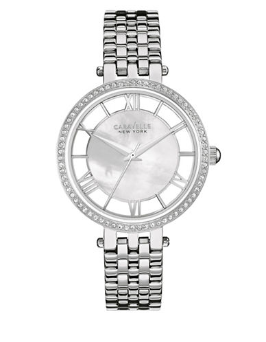 Caravelle New York The Dress Collection Three-Hand Sweep Analog Stainless Steel Bracelet Watch-SILVER-One Size