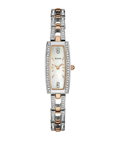 Bulova Pave Crystal Two-Tone Stainless Steel Watch and Bracelet Set-TWO TONE-One Size