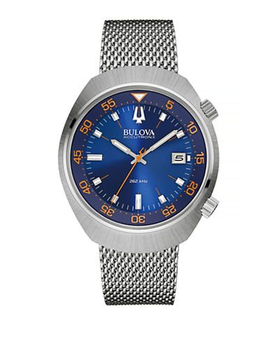 Bulova Accutron II Stainless Steel Mesh Bracelet Watch-SILVER-One Size