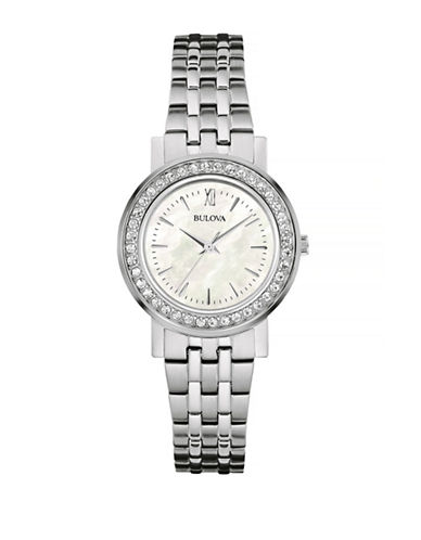 Bulova Pave Crystal Stainless Steel Link Bracelet Watch-SILVER-One Size
